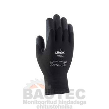 Töökindad külma ilma jaoks, Uvex Unilite Thermo, mustad, suurus 10