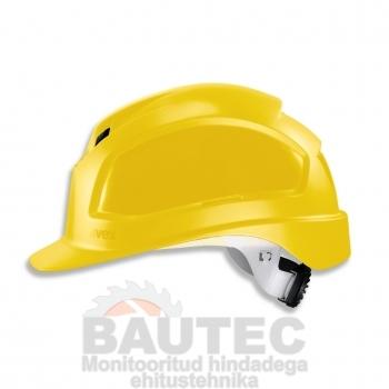 Kiiver Uvex Pheos IES, kollane, reguleeritava ventilatsiooniga, 55-61 cm. kaitseprillide adapter, pingutus rattaga