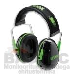 Kõrvaklapid Uvex K1. SNR: 28dB, must/roheline. Väga kerged - ainult 171g
